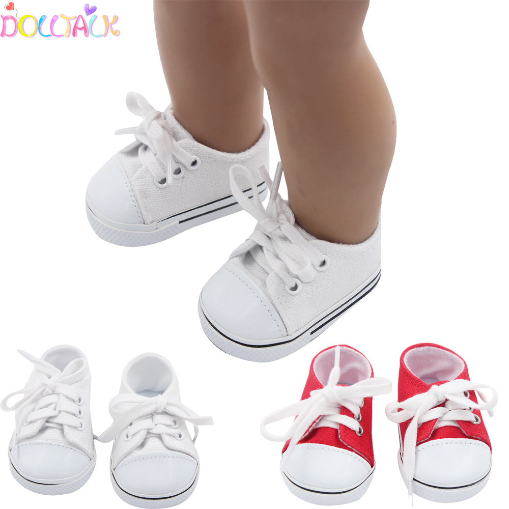 Fashion 43cm New Baby Doll Canvas Shoes Sneakers Shoes For 18 inch Girl Dolls Accessories Shoes Roundhead Lace-up Shoes Sock