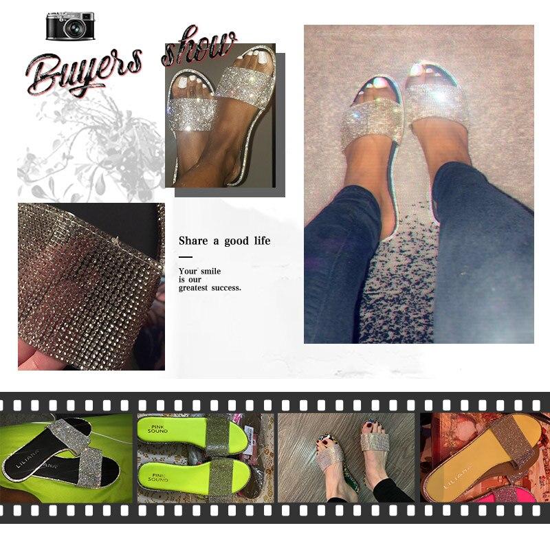 Summer Women Sandals Bling Slippers Ladies Crystal Slides Flat Glitter Gladiator Sandals Beach Shoes Female Sandalia Feminina