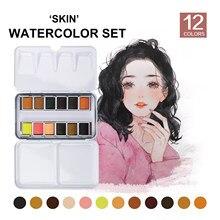 SeamiArt 12 kolorowe blaszane pudełko stałe akwarele akwarele do kreskówek i portretów malarstwo do rysowania artystycznego