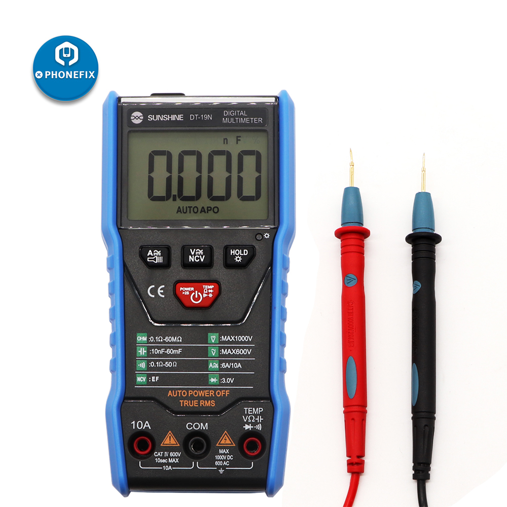 SUNSHINE DT-19N Mini Smart Multimeter Range Mobile Phone Repair Digital Multimeter AC DC Resistance Tester