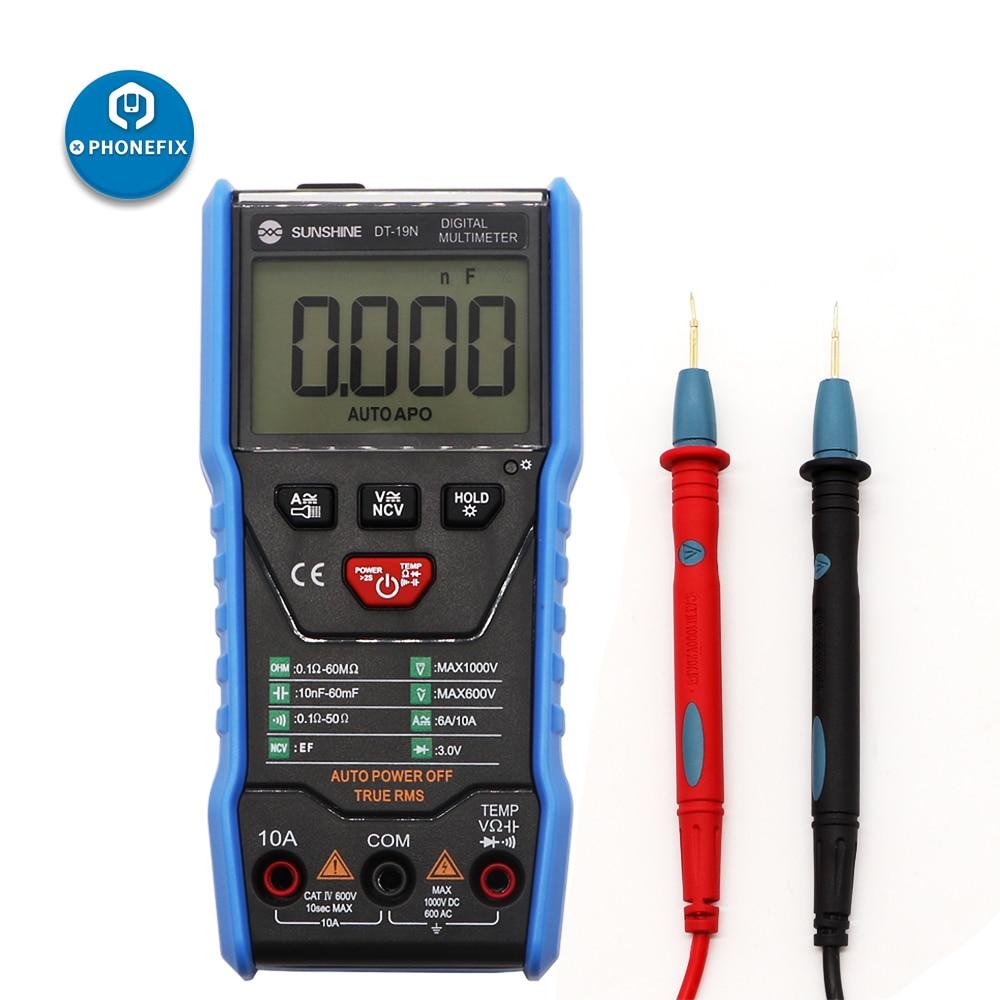 SUNSHINE DT-19N Mini Smart Multimeter Range Mobile Phone Repair Digital Multimeter AC DC Resistance Tester
