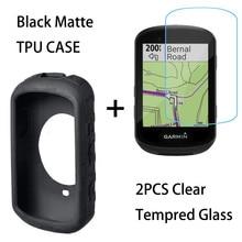 Capa para garmin edge 830 530 1030 plus, capa de gel de sílica antiqueda e 2 protetor de tela de vidro temperado transparente, peças