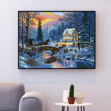 Huacan Kruissteek Winter Landschap Handwerken Sets Voor Volledige Kits Wit Canvas Diy Borduurwerk Sneeuw Landschap Home Decor 14CT