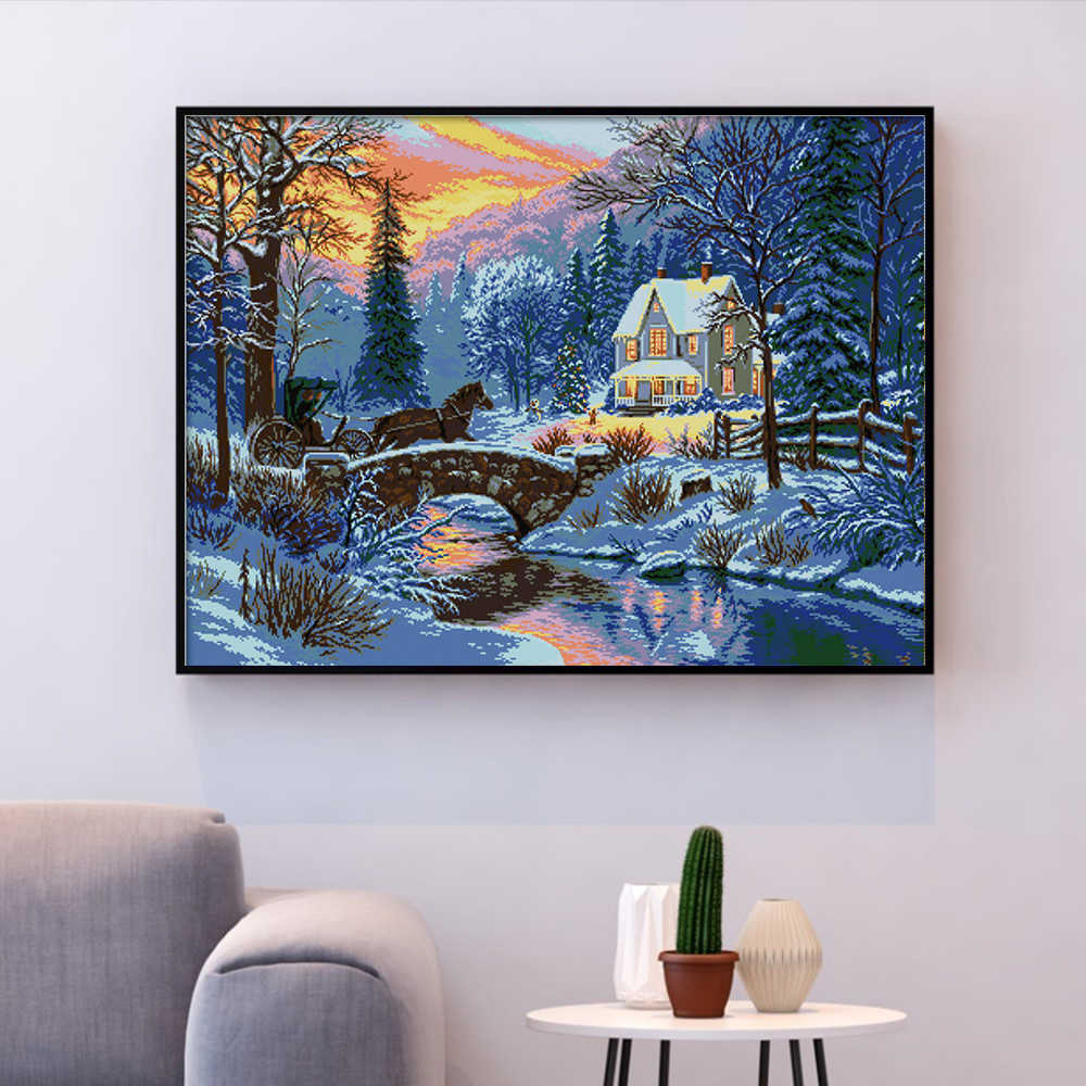 HUACAN Punto Croce Paesaggio Invernale Set di Cucito Per La Piena Kit di Tela Bianca FAI DA TE Ricamo Neve Paesaggio Complementi Arredo Casa 14CT