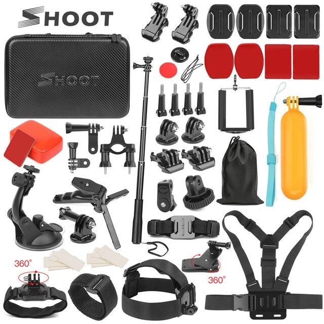 SHOOT Action akcesoria do kamer uchwyt do GoPro Hero 9 8 7 5 czarny Xiaomi Yi 4K Dji Osmo Sjcam M20 M10 Eken H9r Go Pro Hero 8 7