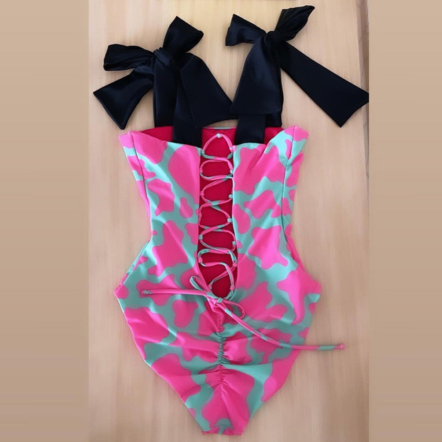 2021 New Sexy One Piece Swimsuit Shoulder Strappy Swimsuit Heart print Swimwear Women Backless Bathing Suit Beach Wear Monokini 6