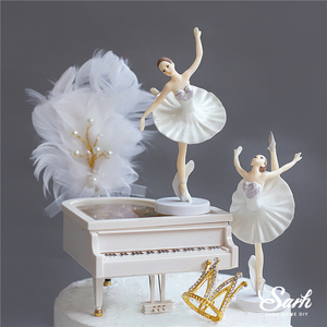 """Image 4 - Hook Flower """"Happy Birthday"""" Cake Toppers 3PC White Pink Ballet Girls Decor Wedding Party Supplies Baking Sweet Gifts"""