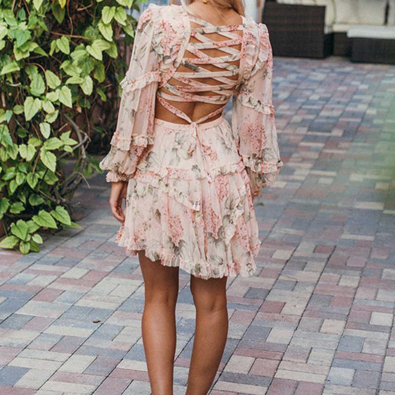 פריז ילדה קיץ חוף מיני שמלת אישה ספגטי רצועת צלב ללא משענת סקסי עמוק V הדפסת Bodycon Vestidos אופנה קצר שמלה