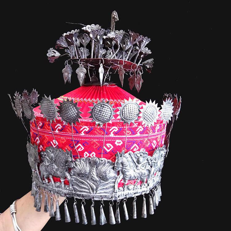 9 tasarımlar antik eski İşlenmiş el yapımı etnik moda Miao gümüş saç Tiaras çiçekli şapka sahne performansı için veya fotoğraf