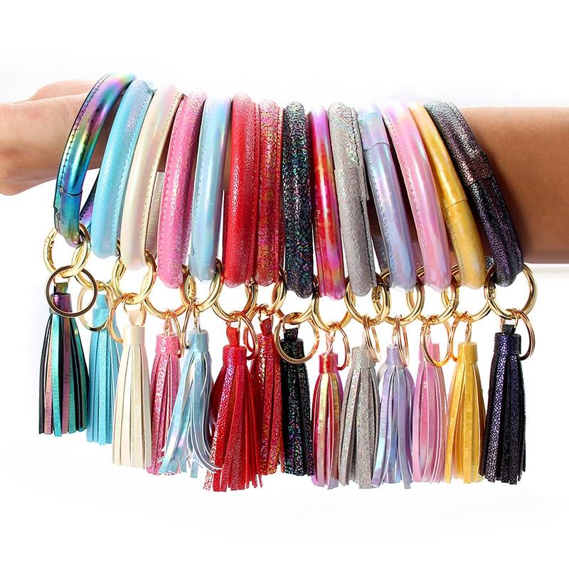 1Pcs Tassel Keychain Multi-Style Colorful Grain Laser Leather Wrist Jewerly Accessories Women Girls Gifts