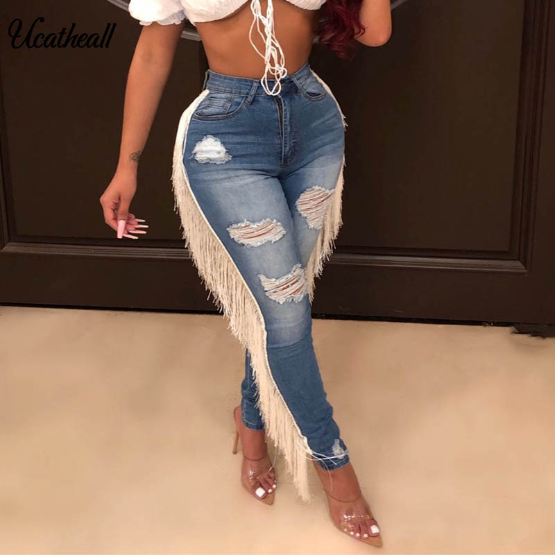 Elastic Skinny Jeans Woman Hight Waist New Tassel Thin Pencil Pants White Finge Club Wear Long Trousers