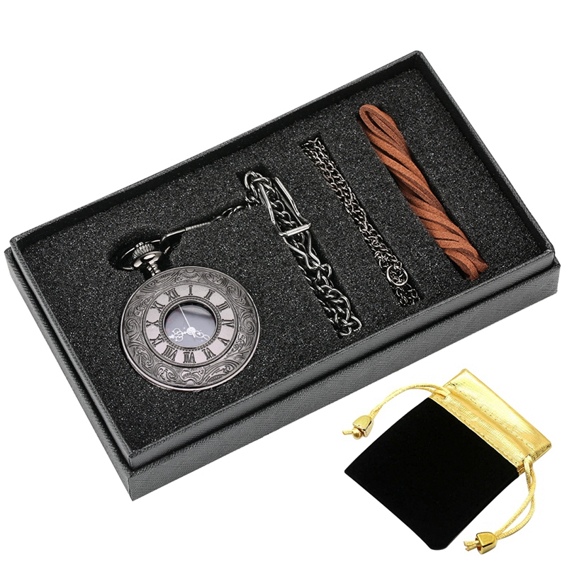 5pcs/set Vintage Black Unisex Roman Numerals Quartz Steampunk Pocket Watch Box Set Necklace Pendant Souvenir Gifts For Men Women