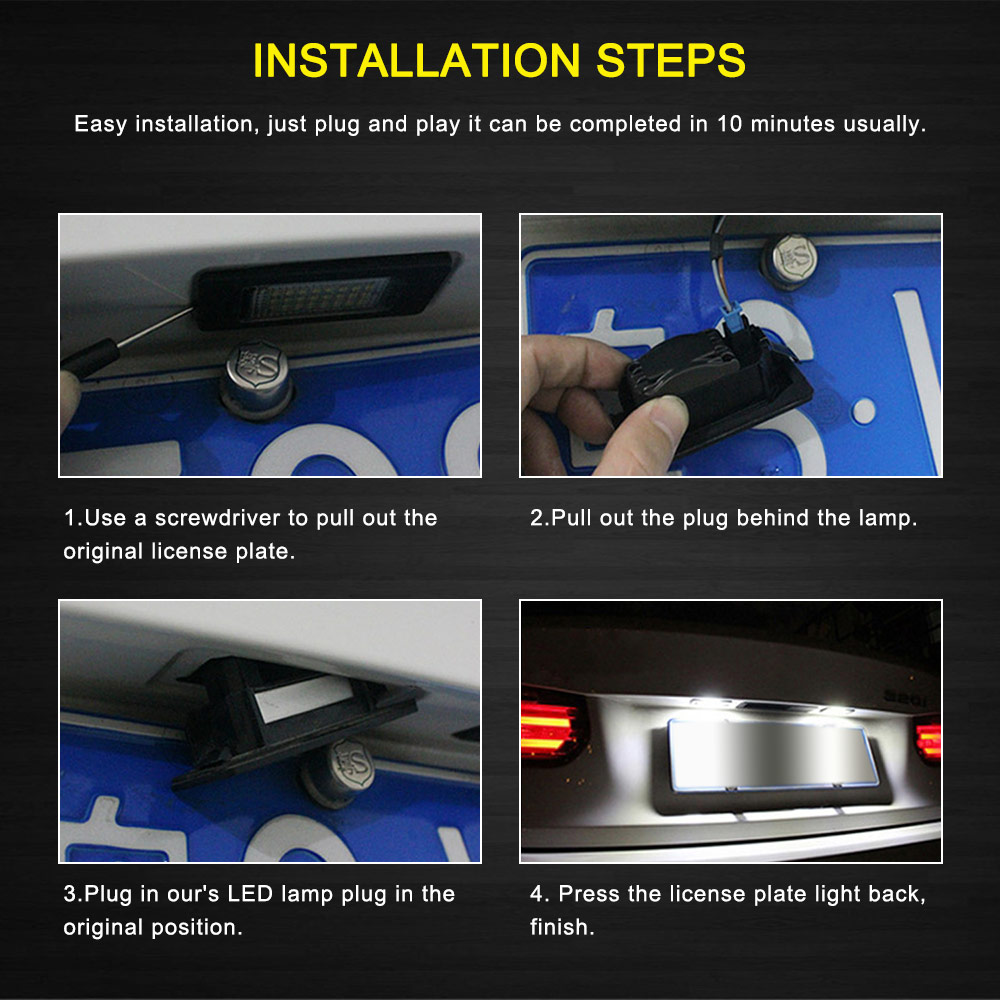 Image 5 - 2 PCS License Plate Light  Led Number Plate Holder Lamp No Error For BMW E39 E60 E60N E61 E90 E91 E90N E92 E93 E46 CSL E82-in License Plate from Automobiles & Motorcycles