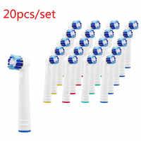 20 pièces/ensemble pour hygiène buccale B têtes de brosse de rechange-Pack de Crossaction têtes de brosse à dents électrique générique-Cross Action Clean