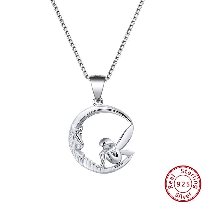 Effie Queen 925 Sterling Silver Women Necklaces Pendants Original Design Moon With Fairy Shape Pendant Fine Jewelry TSN106