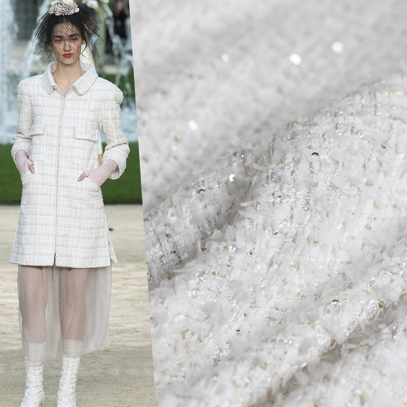 Pearlsilk France blanc Sequin Tweed tissus automne veste robe costumes matériaux de vêtement le mètre de tissu à coudre livraison gratuite
