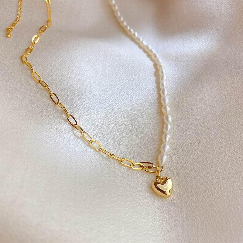 Женская цепочка с жемчугом и металлическим сердечком, колье-чокер, подчеркивающее индивидуальность, подарочные украшения