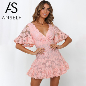 Image 4 - Anself Women Party Lace Dress V Neck Batwing Sleeve A Line Empire Dress Mini Woman Sexy Summer Dresses
