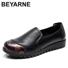 BEYARNEWomen של נעלי עשוי גדול אמיתי עור 4.5 9 הזזה שטוחים להחליק שטוח shoesE1025