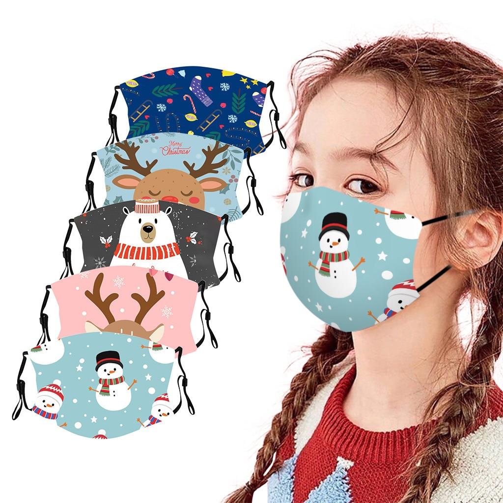 1pc Di Natale Per Bambini Per Bambini Maschera Riutilizzabile Lavabile Maschere di Cotone Del Partito Del Fumetto Lettera Viso Maschera Mascarilla Reutilizable Masque