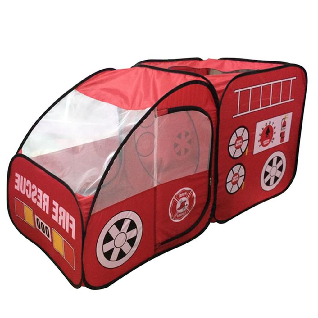 Tente de jeu en forme de camion de pompiers pour enfants, maison de jeu, jardin intérieur, activités de jouets en plein air