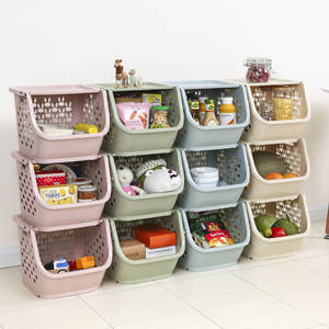 With Lid And Vegetable Basket Storage Shelf Storage Basket Plastic Kitchen-Superimposed