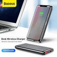 Baseus 10000 mah qi carregador sem fio power bank qc3.0 pd carregamento rápido duplo usb portas powerbank bateria externa para o telefone