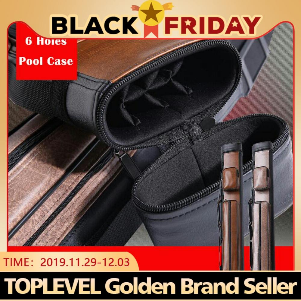 2019 High Quality 1/2 Rod Box Billiard Cue Case PU Cue Case Billiard Accessories 6 Holes Durable Pool Cue Carrying Billiard Bag