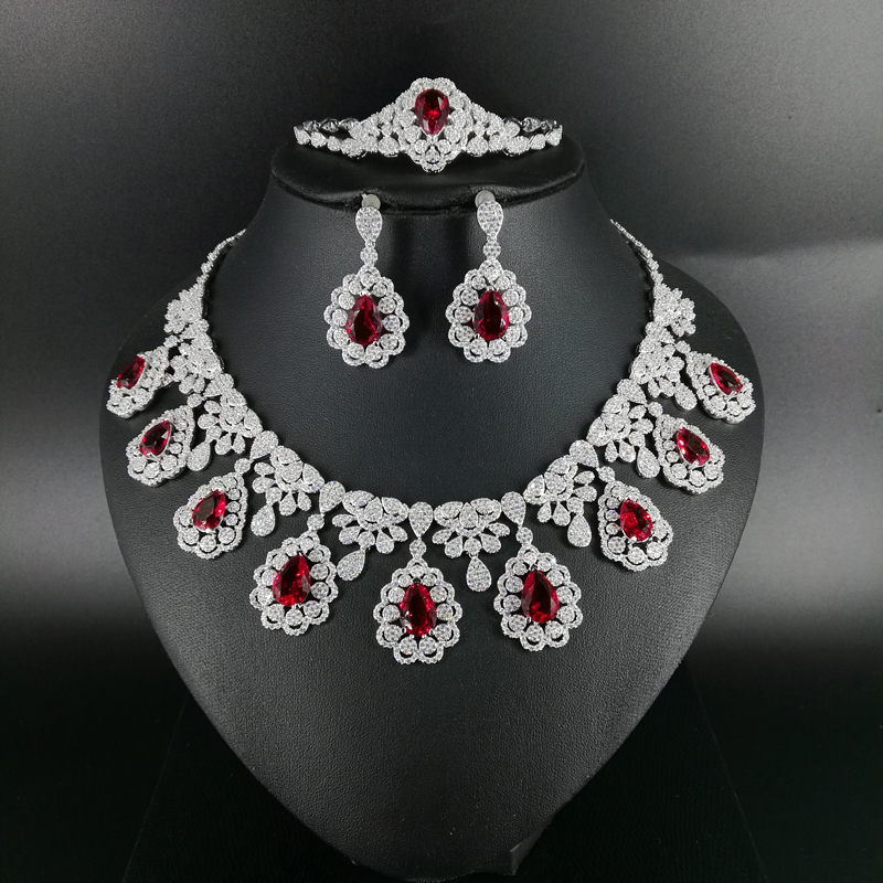 <font><b>2019</b></font> new fashion vintage red water drop CZ zircon necklace earring bracelet ring wedding bride Banquet dressing <font><b>jewelry</b></font> <font><b>set</b></font> image