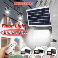 120/80/50w Motion Sensor Porch Lights LED Solar Flood Light Outdoor Garden Security Lamp Waterproof Street Light with RC