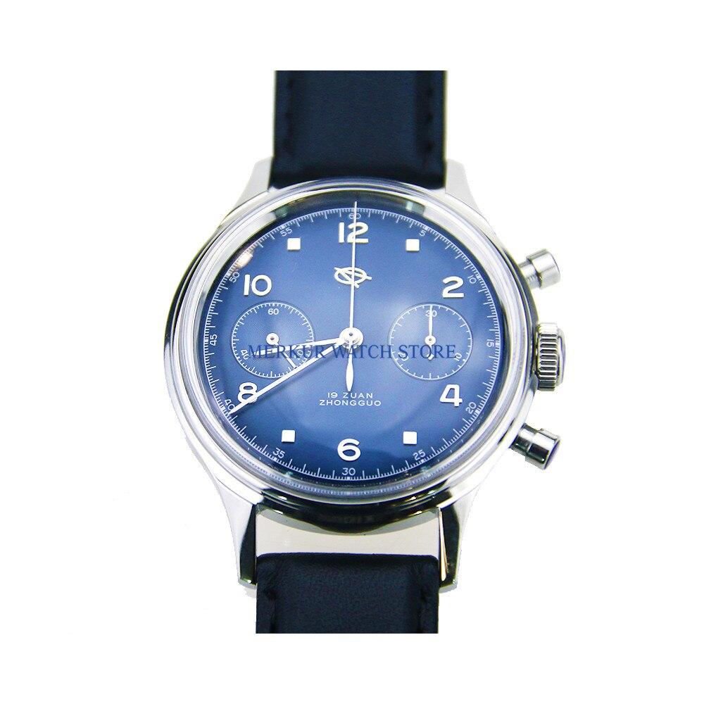 Red Star Mechanical Chronograph For Seagull 1963 ST1901 Movement Mens Pilot Watch Flieger B UHR Handwinding Military Panda Blue|Mechanical Watches| |  - title=
