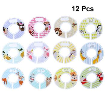 12 sztuk Baby DIY ubrania rozmiar dzielniki okrągłe plastikowe ubrania wieszak koło okrągłe wieszaki dzielniki szafy na szafę tanie i dobre opinie OUNONA Clothing Size Divider Ekologiczne