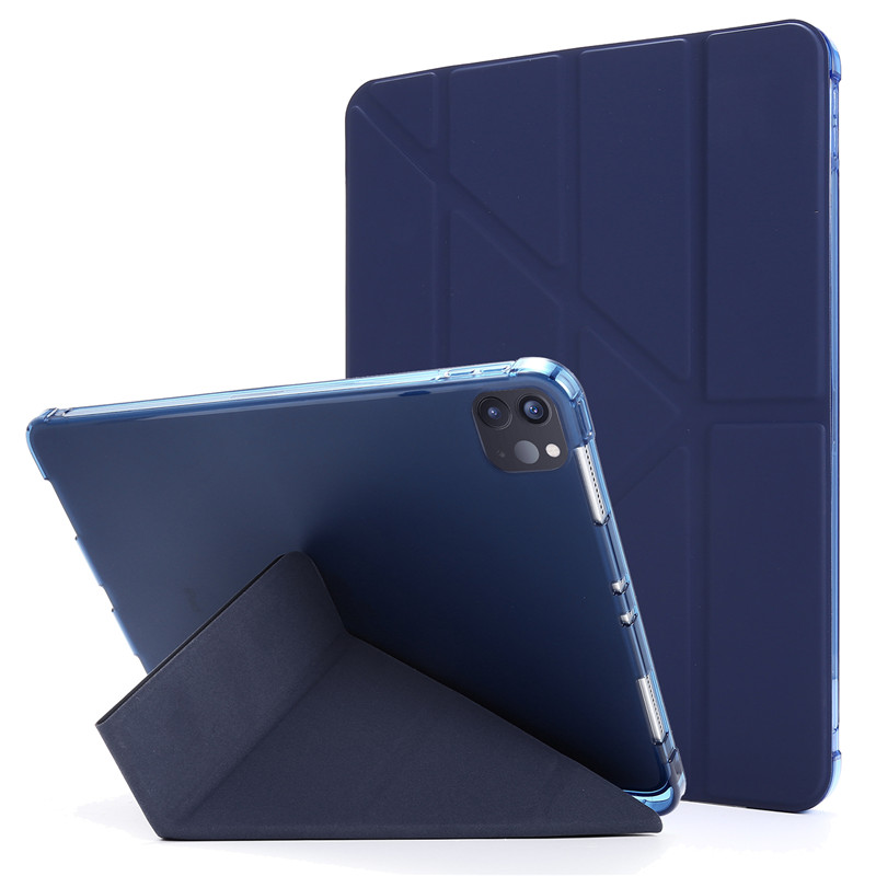dark Blue White Funda For iPad Pro 11 2020 Case with Pencil Holder PU Leather Flip Stand Smart Protective
