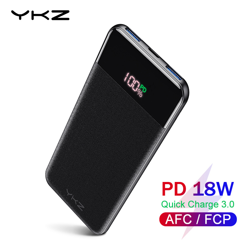 YKZ QC 3.0 LED Power Bank 10000mAh Portable external mobile battery powerbank PD Fast Charger Poverbank For Xiaomi mi Pover bank-in Power Bank from Cellphones & Telecommunications