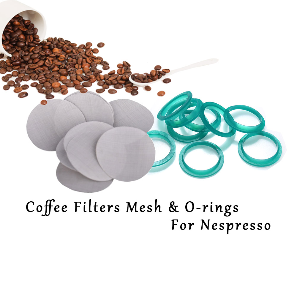 16PCS Filter Mesh 15pc Silicone O-ring Replacement Ring Compatible With Nespresso Stainless Steel Refillable Capsules For Coffee