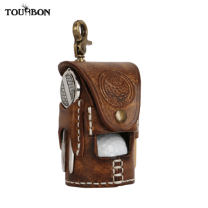 Tourbon Vintage Portable Golf Ball Bag Pouch Divot Tool Holder Tee Holder Holds 2 Balls Vegetable Leather Waist Golf Carrier(China)
