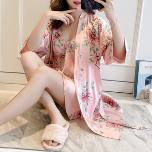 Image 2 - 블랙 봄 새로운 여성 2pcs 가운 정장 슬리퍼 캐주얼 홈 파자마 섹시한 스트랩 Nightwear 수면 기모노 목욕 가운 세트