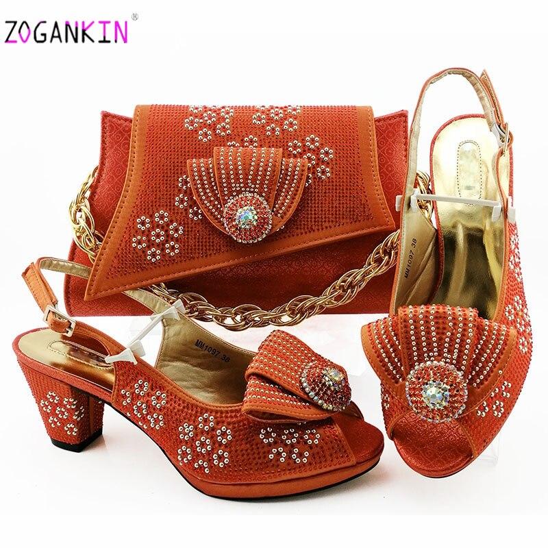 Mode Orange femmes couleur Orange sandales et sac ensemble pour correspondre à des chaussures italiennes de haute qualité avec des sacs assortis pour la fête de mariage