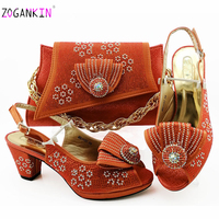 Orange Fashion Women Orange Color Sandals And Bag Set To Match High Quality Italian Shoes With Matching Bags For Wedding Party