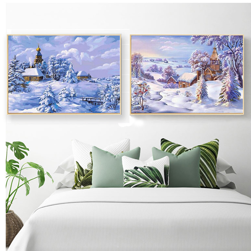 MomoArt 5D House Diamond Painting Winter Scenic Full Drill Square Rhinestone Embroidery Cross Stitch Handwork Room Decoration in Diamond Painting Cross Stitch from Home Garden