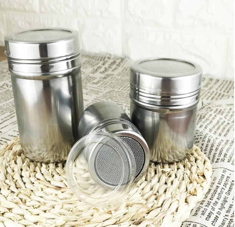 5cm Diam Stainless Steel Powder Sprinkle Extinguishers Tank Gauze Bucket Cocoa Powder Cinnamon Powder Dusting Cans