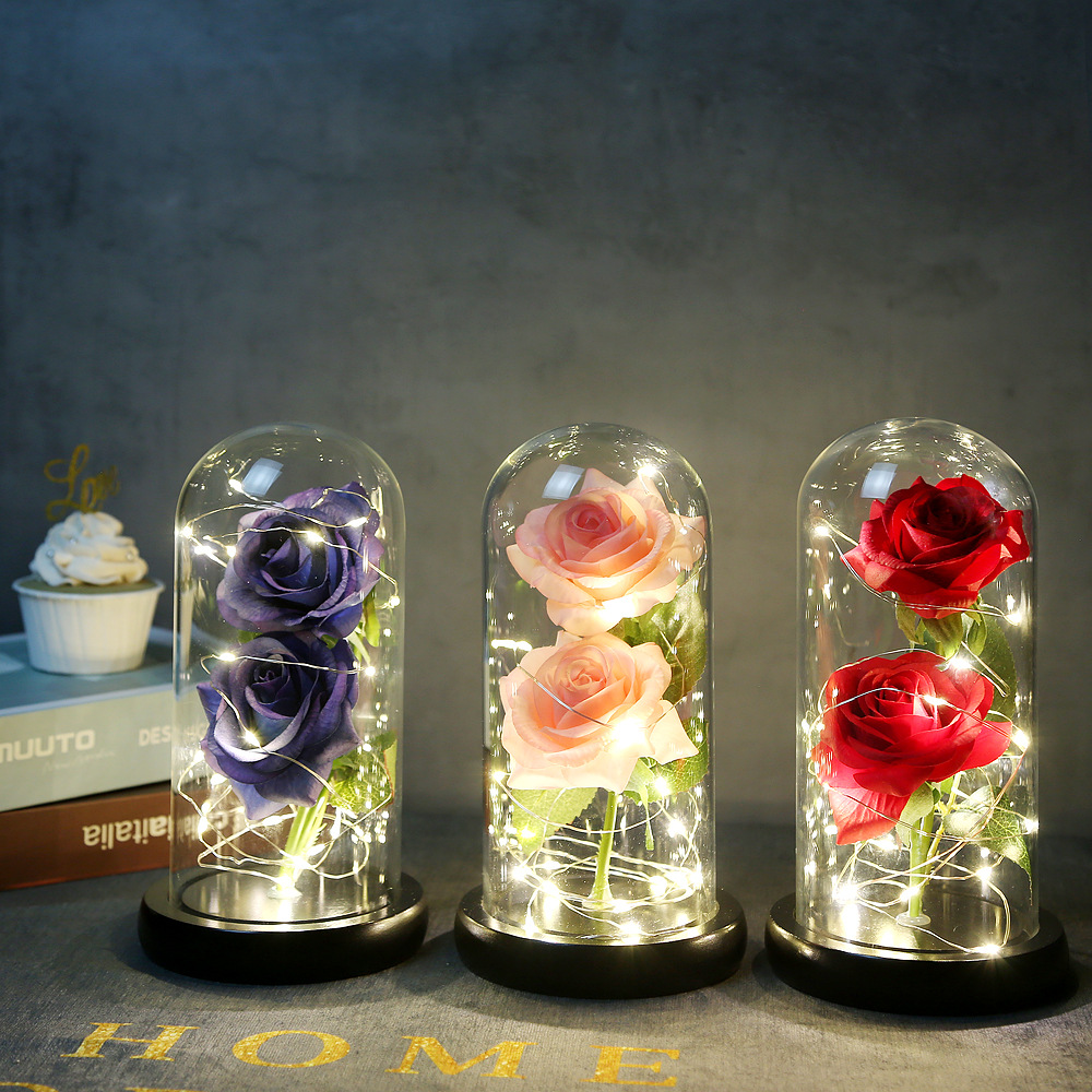 Christmas LED Rose Lamp Glass Ornament Valentine Proposal Gift Flower Light With Wooden Base