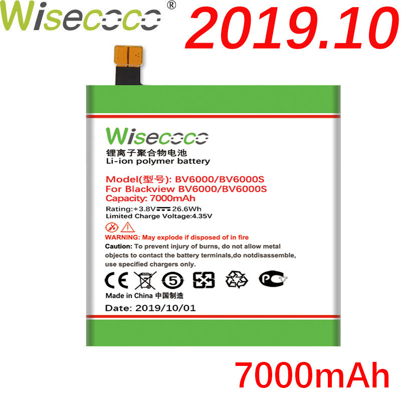 Wisecoco BV6000 7000mAh New Production Battery For Blackview BV6000 BV6000S Phone High quality Battery Replace+Tracking Number(China)