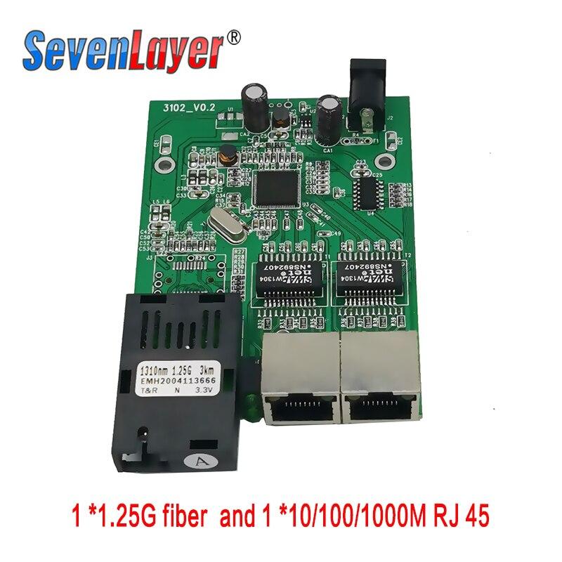10/100/1000M Gigabit Media Converter 1 Sc 2 Rj45 Gigabit Optical Fiber Ethernet Fiber Optic Switch For Ip Camera