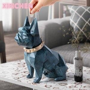 Милый ящик для монет, копилка, смола, статуэтка собаки, домашний декор, ящик для хранения монет, держатель для игрушки ребенок, Подарочная де...