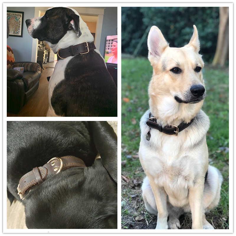 Benepaw באיכות עור אמיתי כלב צווארון עמיד בציר כבד חלד כפול D-טבעת חיית מחמד בינוני כלבים גדולים