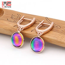 SJMADE Fashion Luxury Elegant Round Colorful Crystal Dangle Earrings 585 Rose Gold White Gold Earring For Women Wedding Jewelry(China)