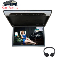 Car Family 19 Inch HD 1080P Video Car Monitor Roof Flip Down Mount Ceiling MP5 Player With USB/SD/HDMI/Sperker/IR/FM Transmitter