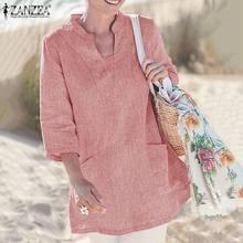 Shirts Blouses ZANZEA Tunic Pocket Oversized Half-Sleeves Vintage Autumn V-Neck Women's