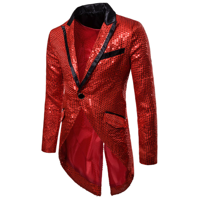 <font><b>Men</b></font> Shiny <font><b>Sequins</b></font> Suit <font><b>Jacket</b></font> <font><b>Blazer</b></font> One Button Formal Tuxedo Wedding Party Coat Bling <font><b>Sequin</b></font> Glitter Tuxedo <font><b>Blazer</b></font> Coat image